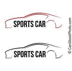 logo, sportende, calligraphic, auto