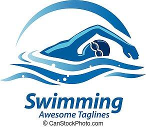 logo, sportende, zwemmen