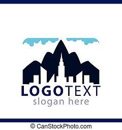 logo, stad, vector, mal, berg