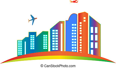 logo, stad, wolkenkrabber, gebouw