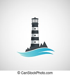 logo, stary, lighthouse.