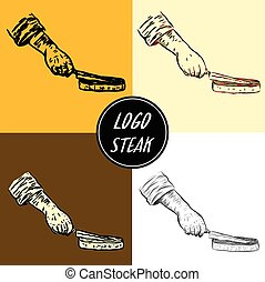 Logo steak by hand drawing