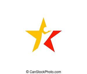 logo, stern, menschliche figur, schablone