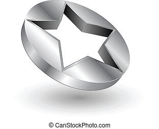logo, stern, metallisch