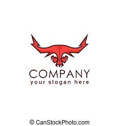 logo, stier, ontwerp, plat, mal