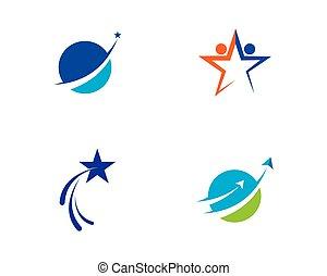 logo, stjerne, skabelon