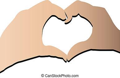 logo, stockage, coeur, mains