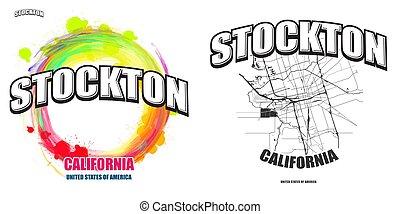 logo, stockton, gestaltungsarbeiten, kalifornien, zwei