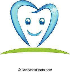 logo, stomatologiczny, wektor, szczęśliwy, ząb