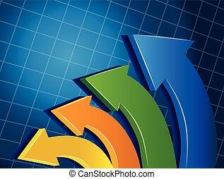 logo, strzały, wektor