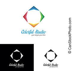 logo, studio, coloré, gabarit
