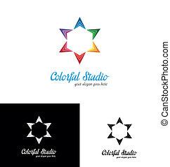 logo, studio, färgrik, mall