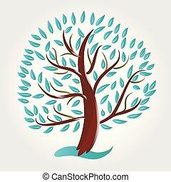 Logo stylized tree symbol icon vector
