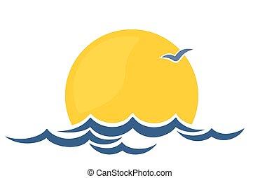 Logo sun and sea. - Logo dawn sun in the sea.