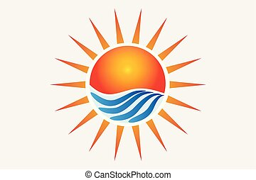 Logo sun and waves watercolor vector