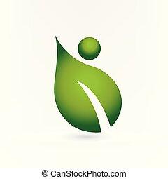 logo, sundhed, blad, natur, folk