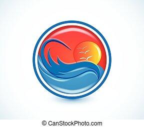 Logo sunny summer beach waves tropical paradise