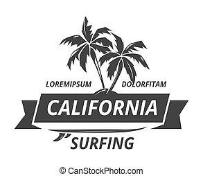 logo, surfer, palmier