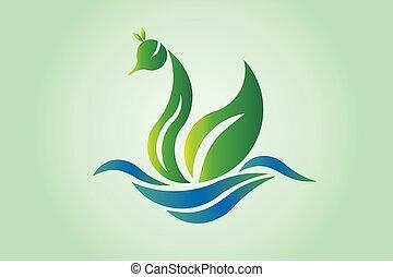 Logo Swan green leaf wing icon vector