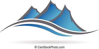 logo, swoosh, góry