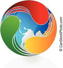 logo, swooshes, autour de, mondiale