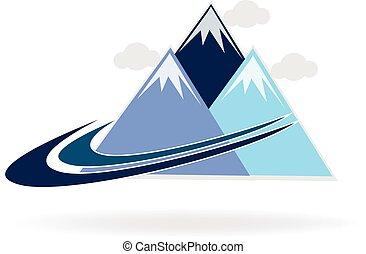 logo, swooshes, berg