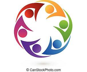 logo, swooshes, ikon, folk