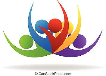 logo, swooshes, mensen, teamwork