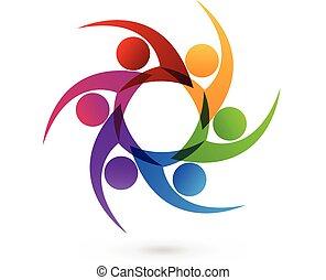logo, swooshes, pictogram, mensen