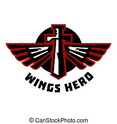 Logo sword and wings. Vector illustration. Flat style