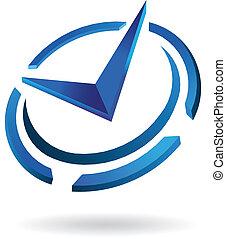 logo, syled, horloge, temps