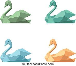 Logo symbol emblem swan variations set - Logo symbol emblem...