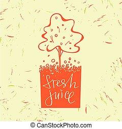 Logo symbol for fresh juice. Fruit tree. Orange tree. Hand drawn