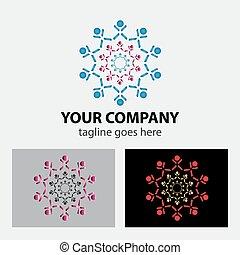 logo, symbol, lag, arbetande folken