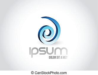 logo, symbol, projektować, spirala, ilustracja