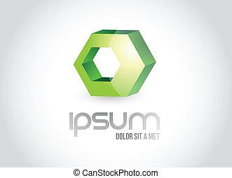 logo, symbol, projektować, wielobok, ilustracja