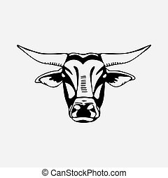 Logo, symbol, sign, stencil bull head. Unique technique. Vintage hand drawn style