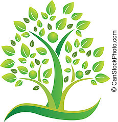 logo, symbol, teamwork, träd, folk