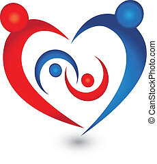 logo, symbol, vektor, familie