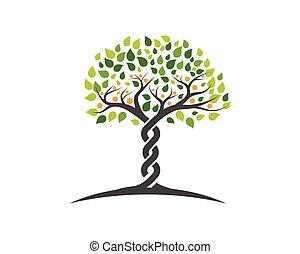 logo, symbole, arbre, famille, icône