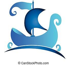 logo, symbole, bateau