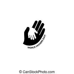 logo., symbole, famille, père, main, day., vecteur, adulte, enfant avoirs, soin, mondiale, enfants, gentillesse, parents.