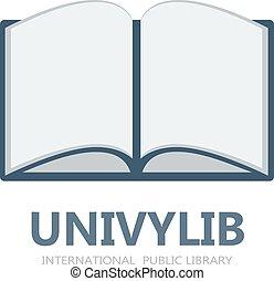 logo, symbole, livre, ou, icône