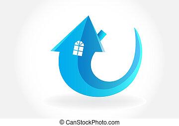 logo, symbole, vecteur, flèche, maison