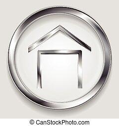 logo, symbool, concept, metalen, woning