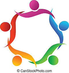 logo, symbool, omhelzing, teamwork