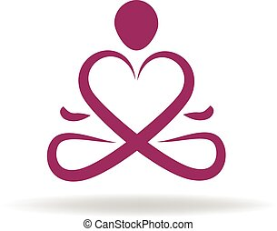 logo, symbool, yoga, liefde
