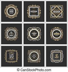 logo, szablon, luksus, monogram