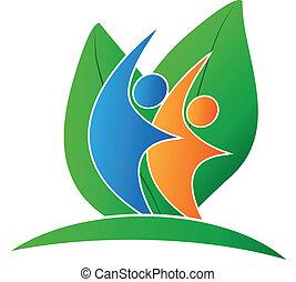 logo, szczęśliwy, liście, ludzie