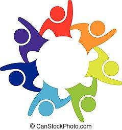 logo, szczęśliwy, ludzie, teamwork